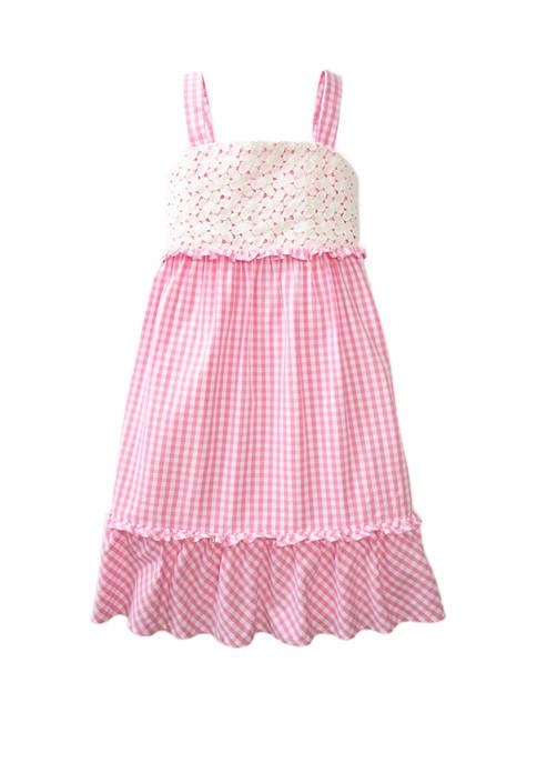 Girls 7-16 Eyelet Smocked Dress