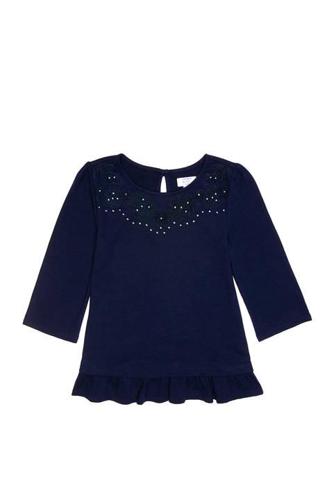 Crown & Ivy™ Girls 7-16 Lace Ruffle T-Shirt