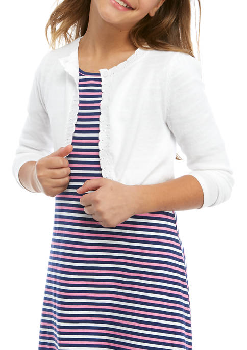 Crown & Ivy™ Girls 7-16 Long Sleeve Scallop