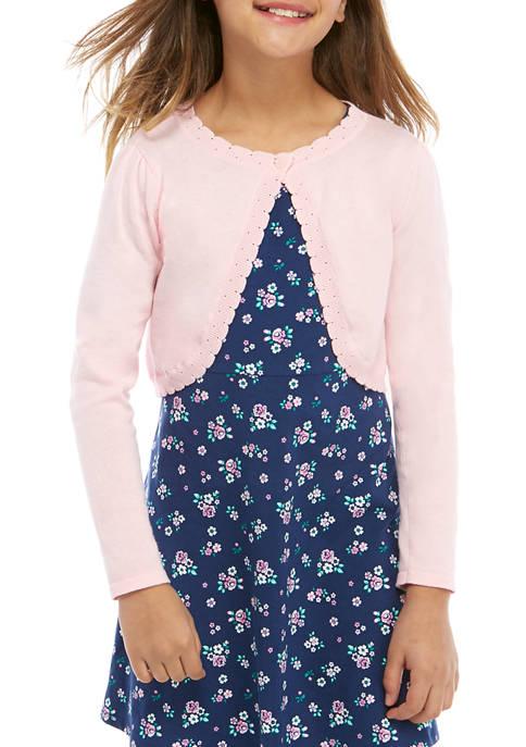Girls 7-16 Long Sleeve Scallop Cardigan
