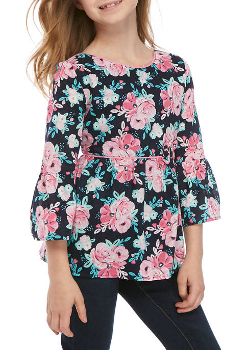 Crown & Ivy™ Girls 7-16 Floral Bow Top