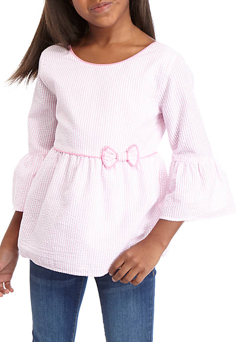 Crown & Ivy™ Girls 7-16 3/4 Sleeve Tipped