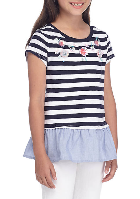 Crown & Ivy™ Girls 7-16 Stripe Necklace Tee