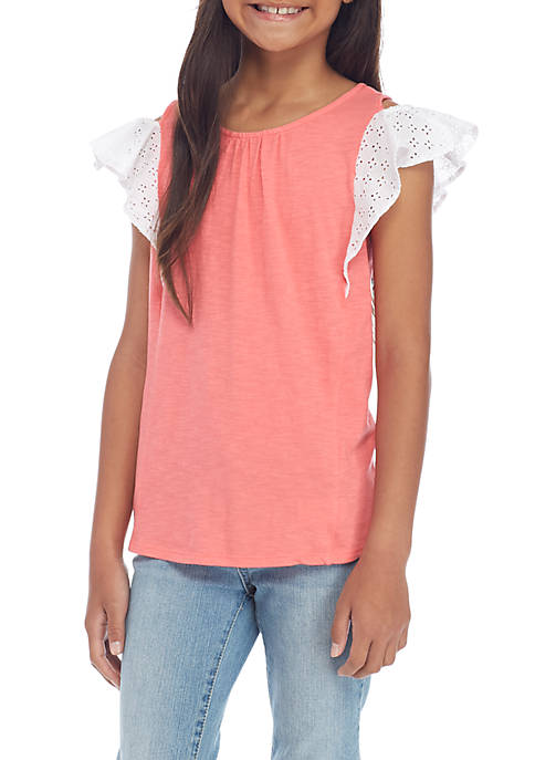 Crown & Ivy™ Girls 7-16 Mix Sleeve Knit