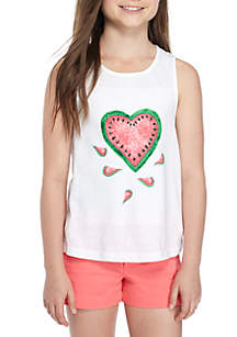 Heart Screen Print Tank Girls 7-16