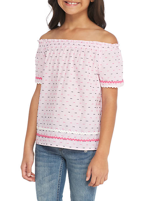 Crown & Ivy™ Girls 7-16 Printed Off-the-Shoulder Top