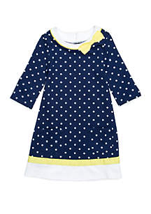 Girls 4-8 Knit Dress with Piping