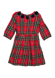 Girls 4-8 3/4 Sleeve A-Line Dress