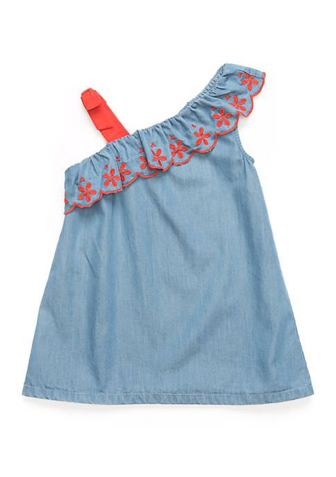Girls 4-6x Ruffle Shoulder Dress