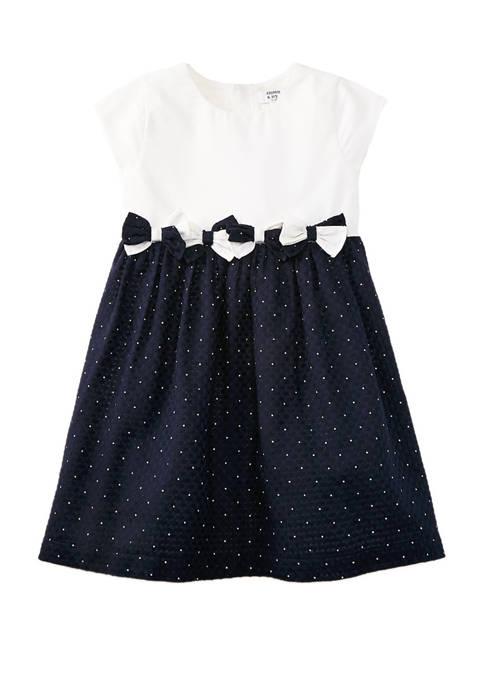 Crown & Ivy™ Girls 4-6x Mixed Bow Dress