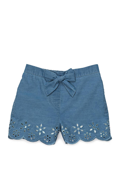 Girls 4-8 Scallop Hem Shorts