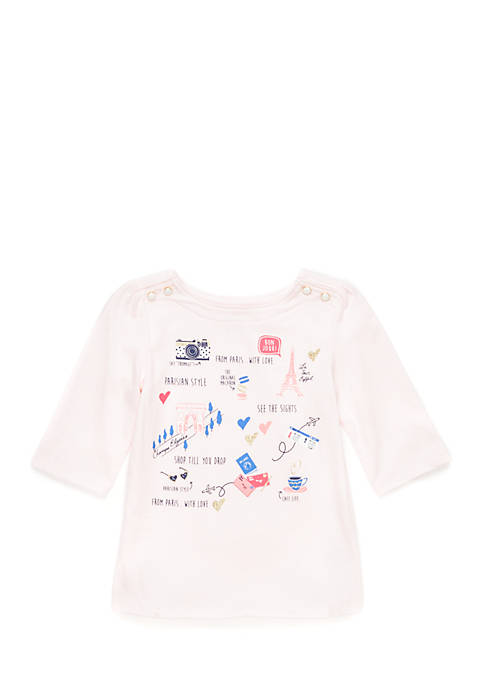 Crown & Ivy™ Toddler Girls Button Shoulder Tee