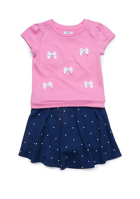 Crown & Ivy™ Girls 4-8 Short Sleeve Knit