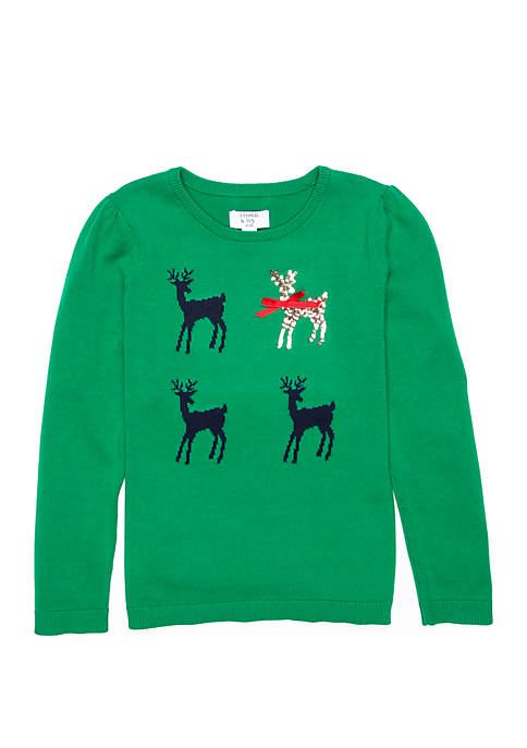 Crown & Ivy™ Girls 4-6x Reindeer Pullover Sweater
