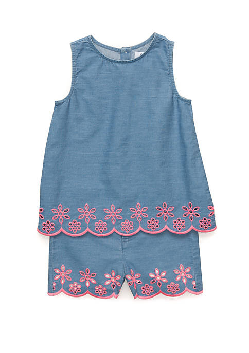 Girls 4-8 Embroidered Chambray Set