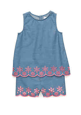 6dbed5cd9a Crown   Ivy™ Girls 4-8 Embroidered Chambray ...