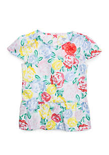 Crown & Ivy™ Girls 4-8 Peplum Cap Sleeve Top