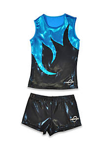 Obersee Cheer Dance Tank and Shorts Set Girls 4-6x