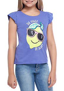 Girls 4-10 Flutter Screen Print Tee
