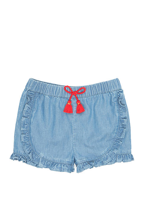 Girls 4-8 Ruffle Woven Shorts