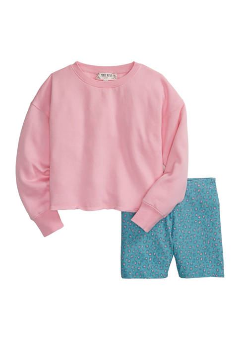 Girls 7-16 2 Piece Sweatshirt and Biker Shorts Set