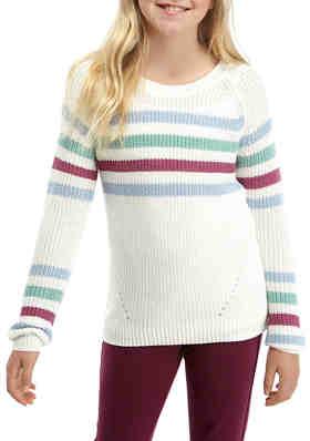 7-16 Pink Republic Big Girls Fringe-Front Sweater Ivory Small