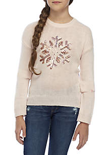 Pink Rose Girls 7-16 Glitter Snowflake Sweater