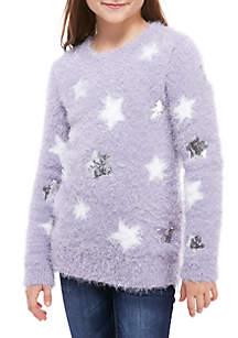 Girls 7-16 Fuzzy Eyelash Glitter Stars Sweater