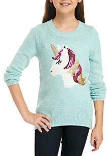 Girls 7-16 Marled Glitter Intarsia Sweater