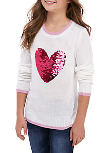 Girls 7-16 Ivory Tipped Reverse Sequin Heart Sweater