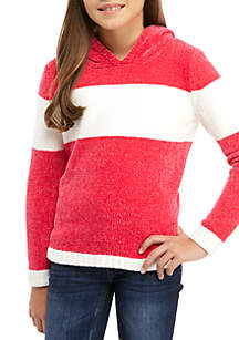 Girls 7-16 Hooded Striped Chenille Sweater