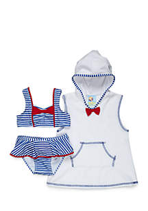 2-Piece Striped Swimsuit and Cover-Up Set Girls 4-6x