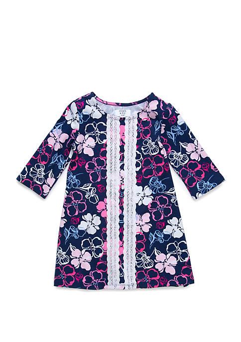 Crown & Ivy™ Girls 4-6x 3/4 Sleeve Crochet