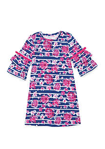 Crown & Ivy™ Girls 4-6x Double Ruffle Sleeve A Line Dress