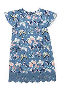 Girls 4-8 Flutter Sleeve Dress