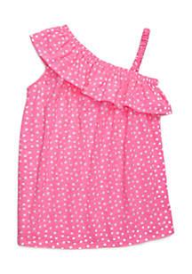 Girls 4-8 One Shoulder Ruffle Dress