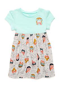 Girls  4-10 Short Raglan Sleeve Empire Waist Dress