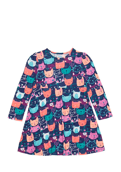 Lightning Bug Girls 4-10 Long Sleeve Kitty Print
