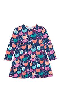 Girls 4-10 Long Sleeve Kitty Print Skater Dress