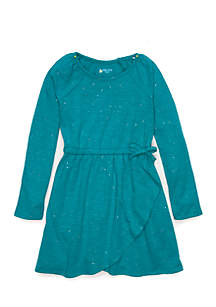 Girls 4-10 Long Sleeve Wrap Dress