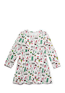 Girls 4-10 Long Sleeve Skater Dress