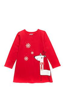 Girls 4-10 Long Sleeve A-Line Dress