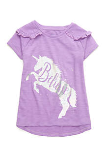 Girls 4-10 Short Sleeve Ruffle Shoulder Tee
