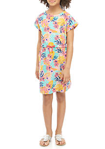 TRUE CRAFT Girls 7-16 Tropical French Terry Dress