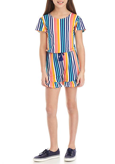 Girls 7-16 Multi-Stripe Romper