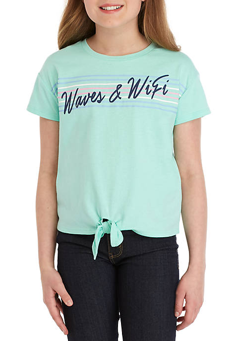 Girls 7-16 Waves and Wifi Tie Front Tee