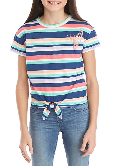 Girls 7-16 Striped Surfs Up Tie Front Tee