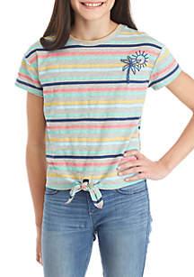 TRUE CRAFT Girls 7-16 Stripe Tie Front Tee