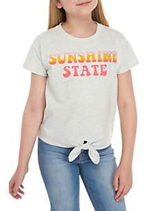 TRUE CRAFT Girls 7-16 Sunshine State Tie Front Tee