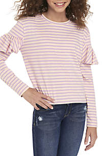 Girls 7-16 Long Sleeve Ruffle Shoulder Tee